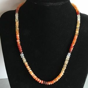 Jewelry - Genuine faceted fire opal gemstone & sterling sil